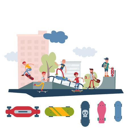 Young skateboarder active people park sport extreme outdoor active skateboarding urban jumping tricks vector illustration. Freestyle boarding skate park