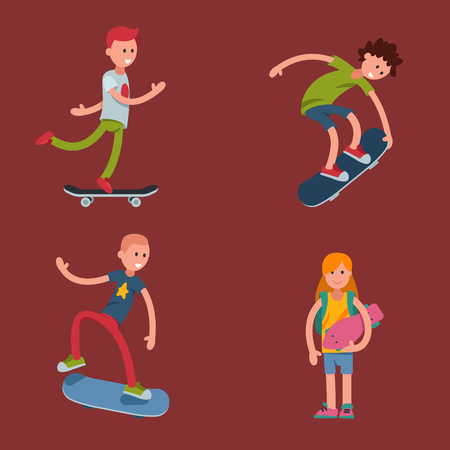 Young skateboarder active people sport extreme active skateboarding urban jumping tricks vector illustration.  Freestyle boarding skate park Illustration