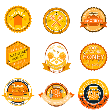 Set bee icon labels for honey products. Organic farm, natural sweet product. Quality healthy food vector illustration. Illustration