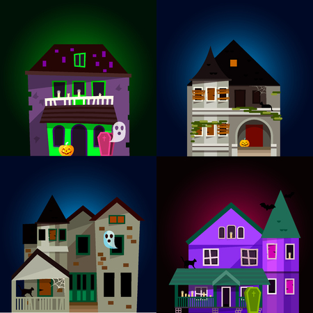 Dark mysterious obscure gloomy terrible witch castle with spooky for Halloween design vector illustration Иллюстрация