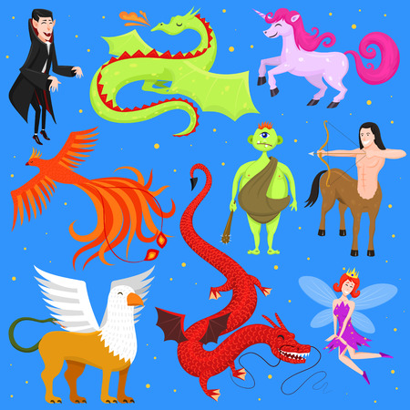 Mythological animal vector illustration set Illustration