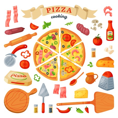 Pizza and ingredients vector illustration set  イラスト・ベクター素材