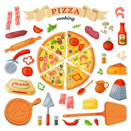 Pizza et ingrédients illustration vectorielle ensemble Banque d'images - 99228461