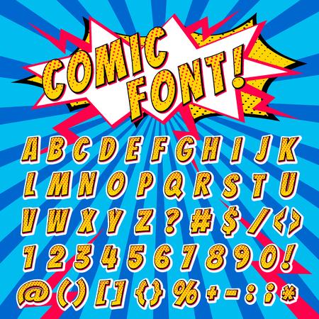 Police de bande dessinée vecteur lettres de l'alphabet de dessin animé dans un style pop art et icônes de texte alphabétique pour illustration de typographie typographiquement alphabétique abc et chiffres sur fond popart