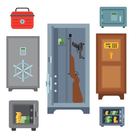 Money safe steel vault door finance business concept safety business box cash secure protection deposit vector illustration.  イラスト・ベクター素材