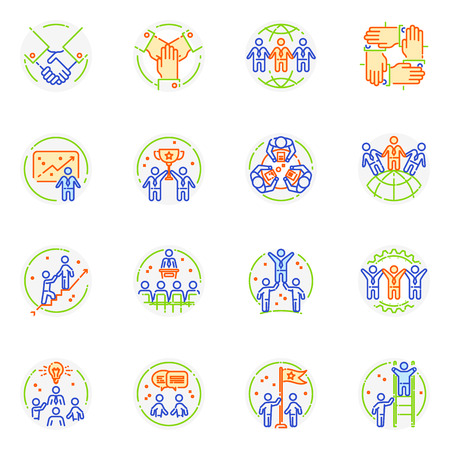 Teamwork icon vector teambuilding logo and cooperation work sign of business partnership illustration set of friendship in team communication isolated on white background.