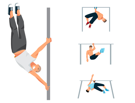 Horizontal bar chin-up strong athlete man gym exercise street workout tricks muscular fitness sport pulling up character vector illustration. Vettoriali