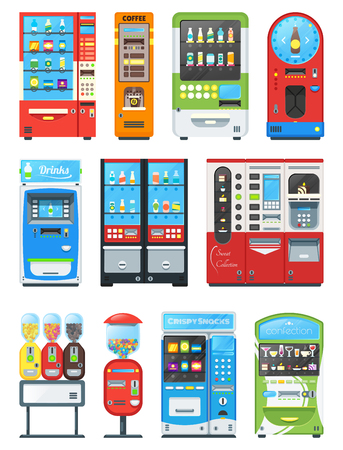 Vending machine vector vend food or beverages with candies and vendor machinery technology to buy snack or drinks illustration set isolated on white background