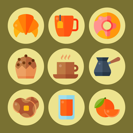 Breakfast healthy food meal icons drinks flat design bread egg lunch healthy meat menu restaurant vector illustration. Cooking fruit kitchen utensils breakfaster snack. Ilustração