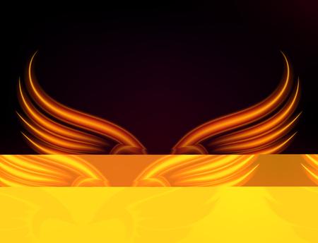 Flammenvogel-Feuer beflügelt brennende Flammenfliege des Fantasiefeder-brennenden Gefahrenaufflackern-Glühens brennende Flügel brennen heiße Kunstvektorillustration auf Schwarzem. Hitzephoenix-Fantasie-Feuerfeder. Standard-Bild - 99099760