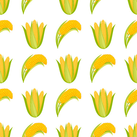 Corn vegetable cobs vector illustration seamless pattern. Healthy grain maize vegetable cob corn. Yellow agriculture farm ingredient corn. Nature harvest golden popcorn kernels sweet vegetarian sweet corn seed.