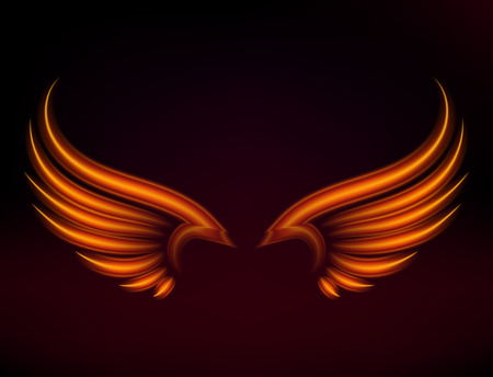 Flame bird fire wings fantasy feather burning blaze fly blazing danger flare glow fiery wings burn hot art vector illustration on black. Heat phoenix fantasy fire feather.
