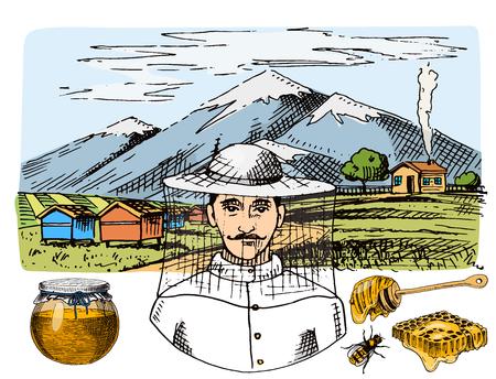 養蜂場のベクター手描きヴィンテージ蜂蜜農家養蜂家イラスト。蜂、蜂蜜、蜂小屋自然の健康食品養殖動物の生産。  イラスト・ベクター素材