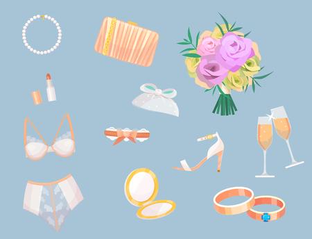 Wedding bride dress accessories vector fashion style bridal shower sketch decor cartoon silhouette portrait illustration.