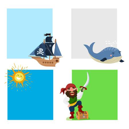 Pirate treasure vector cards adventure sea nautical symbols nautical character captain sailor with sword illustration. Medieval warrior jewelry piratic navigation.