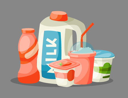 Milk dairy products vector flat style breakfast gourmet organic meal fresh diet food milky drink ingredient nutrition illustration. Calcium jar grocery assortment.