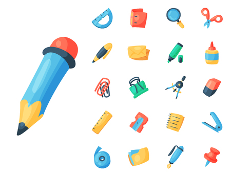 Stationery icons office supply vectorschool tools and accessories set education assortment pencil marker pen isolated on white background illustration.  イラスト・ベクター素材