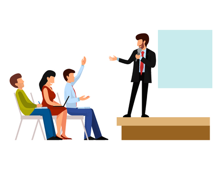 Business people, vector groups presentation to investors. Conference teamwork meeting characters interview illustration.