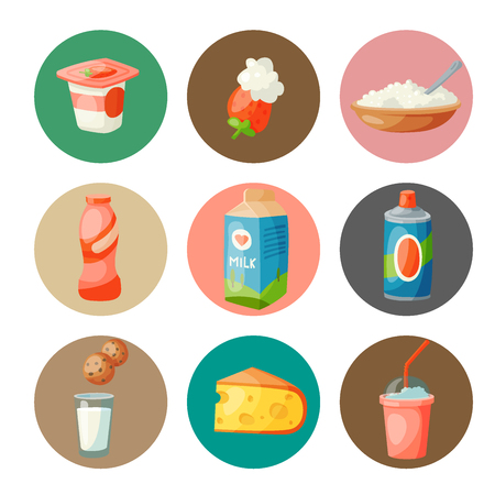 Milk dairy products, vector flat style breakfast gourmet organic meal. Fresh diet food milky drink ingredient nutrition illustration.