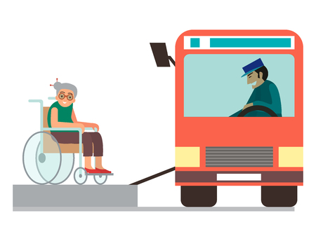 Disabled handicapped, diverse people vector wheelchair. Invalid person help disability characters, disable medical assistance illustration.
