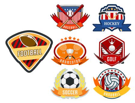 Sport game vector team icon play tournament label. Champion emblem league, competition symbol, athletic championship club, professional tournament label illustration. Illustration