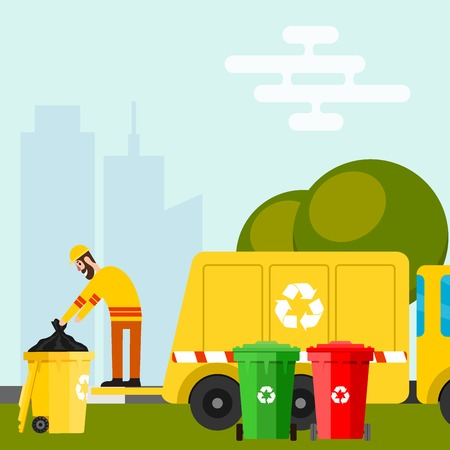 Waste recycling, vector garbage process factory truck. Brought processing industry processed manufacturing production illustration.