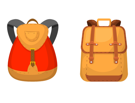 Back to School kids backpack vector illustration. Work time education baggage rucksack learning luggage.