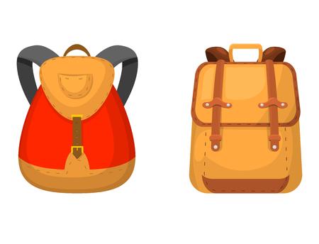 Back to School kids backpack vector illustration. Work time education baggage rucksack learning luggage.