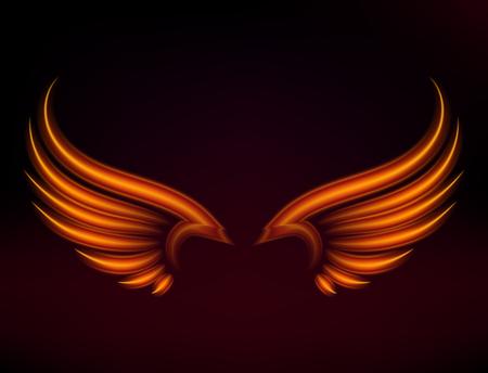 鳥の火の翼ベクトルファンタジーの羽を燃やして飛ぶ神秘的な輝き燃えるような熱いアートの翼イラストを黒に。  イラスト・ベクター素材