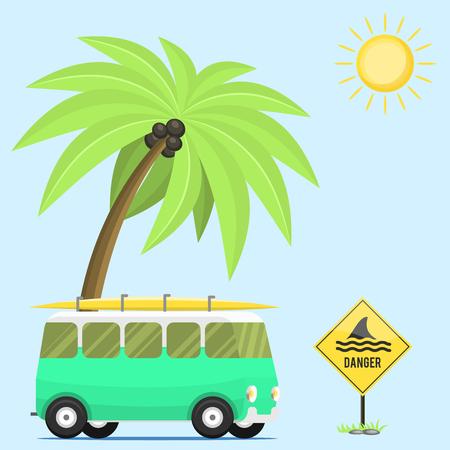 Vacances de vacances de vacances vacances été nature station de camp de la nature vecteur fond plat véhicule plat Banque d'images - 99284768