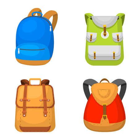 Back to School kids backpack vector illustration. Work time education baggage, rucksack learning luggage.