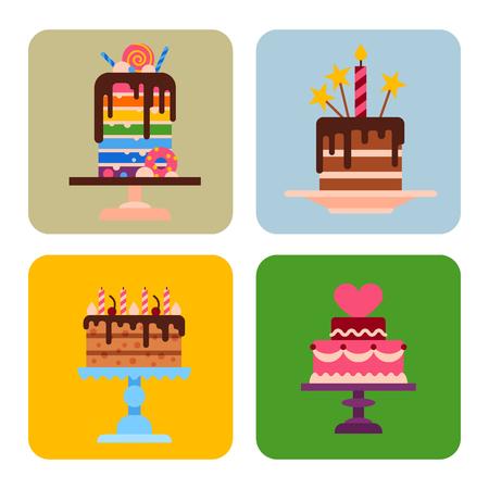 Wedding or Birthday pie cakes cards flat sweets dessert bakery ceremony delicious vector illustration. Tasty dessert sweet pastry pie cream traditional bakery tart. Ilustração