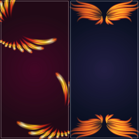 Bird fire wings fantasy banner. Feather burning fly mystic glow, fiery burn hot art vector illustration.