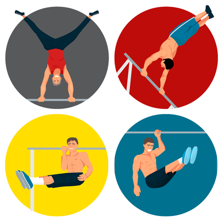 Horizontal bar chin-up strong athlete man gym exercise street workout tricks muscular fitness male sport pulling up character vector illustration. Bodybuilding equipment sportsman. 일러스트