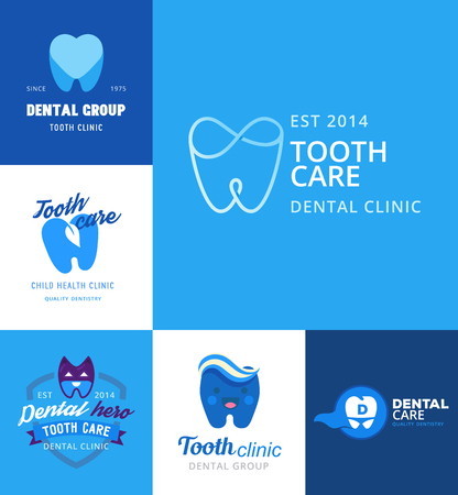 A Vector logo dental protection template illustration stomatology mouth blue graphic oral element. Whitening implant concept toothache silhouette.