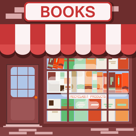 Books shop facade vector background building architecture with urban exterior bookstore flat style center graphic showcase illustration. Store front market construction bookshop terrace.  イラスト・ベクター素材
