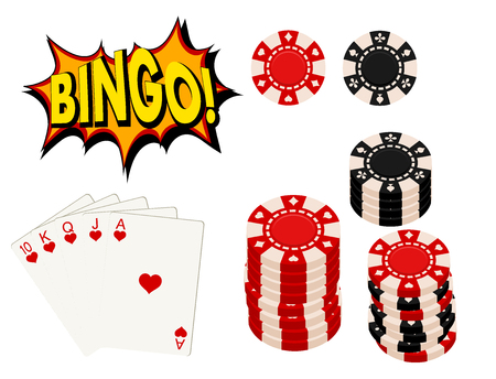 Casino gambling win luck fortune gamble play game objects risk chance icons success vegas roulette gaming vector illustration.