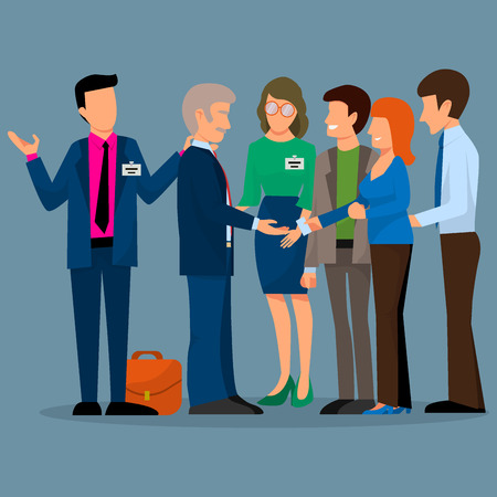 Business people vector groups presentation to investors conferense teamwork meeting characters interview illustration. 일러스트