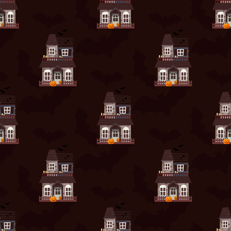 Dark mysterious obscure gloomy terrible witch castle with spooky for Halloween design seamless pattern background vector illustration Illusztráció