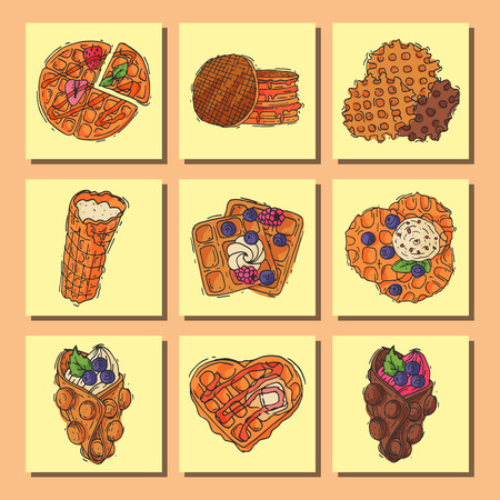 Different wafer cookies waffle cakes and chocolate pastry cookie biscuit delicious snack cream dessert crispy bakery food vector illustration