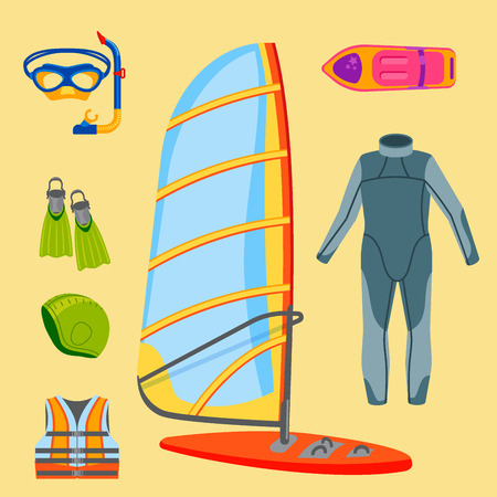 Fun water extreme sport kiteboarding surfer sailing leisure sea activity summer recreation extreme vector illustration. Surfing nature kayaking tools.