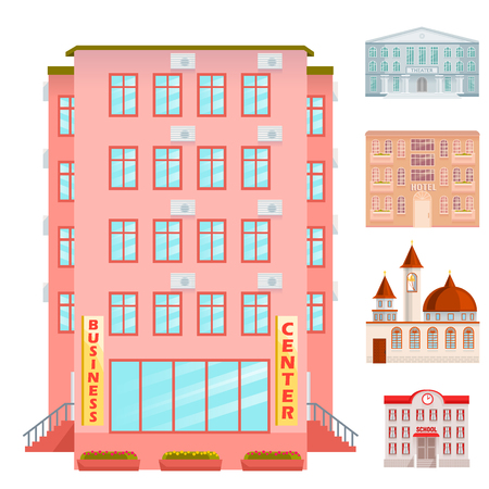 City public buildings houses flat design office architecture modern street construction apartment vector illustration. Residential tower downtown facade. Stock Vector - 99405089