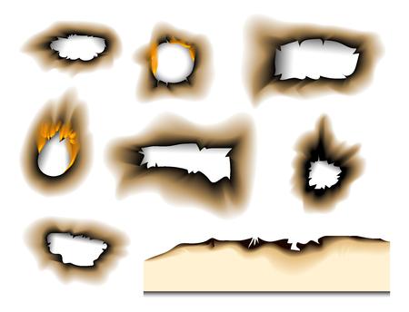 Het gebrande stuk brandde langzaam verdwenen document gat realistische brandvlam geïsoleerde paginablad gescheurde as vectorillustratie Stockfoto - 99406446