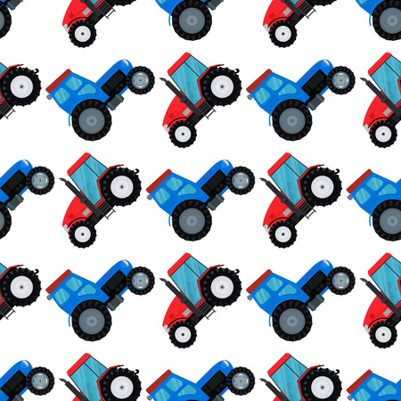 Agriculture industrial farm equipment seamless pattern background machinery tractors combines and excavators vector illustration.