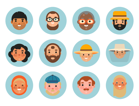 Vector set beautiful emoticons face of people smiling avatars happy characters illustration Foto de archivo - 99406453