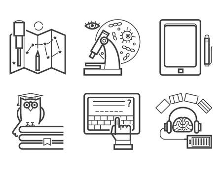 Conjunto de iconos de esquema de diseño plano tutoriales de educación personal formación aprendizaje investigación conocimiento vector ilustración.