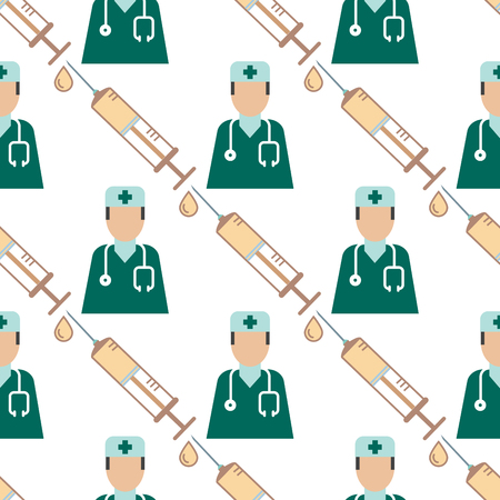 Doctor nurse character medical man vector seamless pattern background