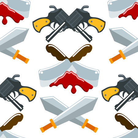 Flat seamless pattern weapons vector format knife rmy graphic gun war symbols illustration background.