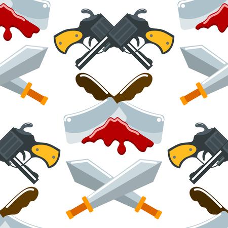 Flat seamless pattern weapons vector format knife rmy graphic gun war symbols illustration background.