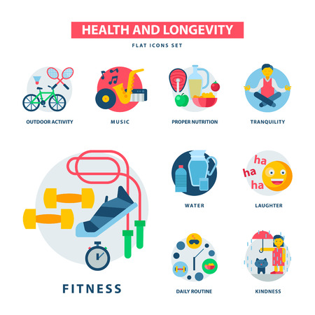 Health and longevity icons modern activity durability vector natural healthy life product food nutrition illustration Stock Illustratie